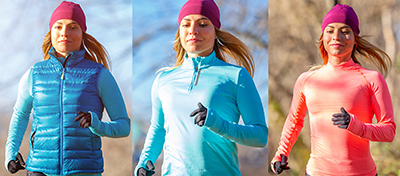 Woman is shown in three different layer levels, from warmest to least warm left to right.
