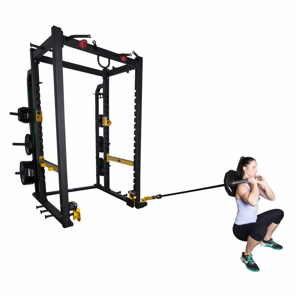 Female athlete using the Fitness First Power Rack with Landmine.